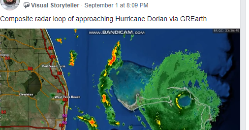 Screenshot of the GRLevelX users group, demonstrating a member's post and associated photo about Hurricane Dorian.